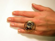 Circles .Large ring handmade metal adjustable by BaccaraJewelry, $45.00