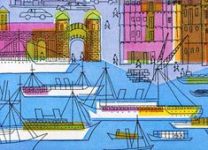 Hamburg designed and illustrated by Sigrid and Hans Lammle for a calendar published in 1957.