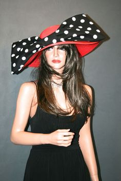 New Church Kentucky Derby Hat Red Black White Polkadot Wide Brim Ascot Dress | eBay