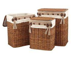Set de 3 cestas de ratán y textil Olga - multicolor