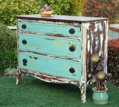 "MAKandJiLL Shabby Chic Dresser. I finished this Duncan Phyfe style dresser with a custom Annie Sloan Chalk Paint mix - Aqua over Green. Body painted in good old ""Old White"" and then distressed like crazy.    www.MAKandJill.com    San Clemente, CA"