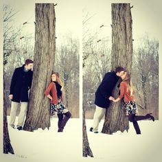 Winter Couple Pictures!!!! :) :) Love the tree idea!