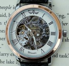 Silver and Rose Mechanical Wind-Up Wrist Watch