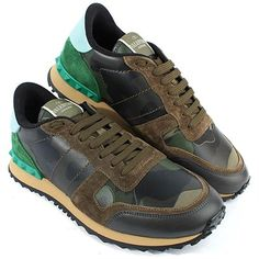 VALENTINO Leather Camo Studded Sneakers
