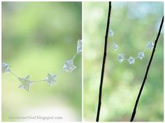 this is genius, recycle cellophane into stars and make it into a garland.