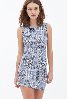 Mosaic Print Sheath Dress