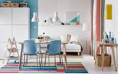 Barevná jídelna, světlý dřevěný stůl, modré židle
