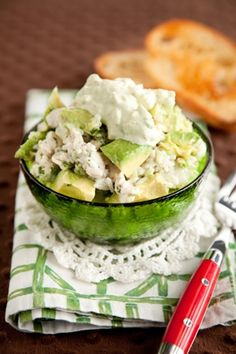Paula Deen Avocado Chicken Salad-- I would definitely add some garlic and lemon juice to this, but it sounds yummy! Think Food, I Love Food, Good Food, Yummy Food, Tasty, Avocado Chicken Salad, Chicken Salad Recipes, Avocado Salad, Avocado Dressing