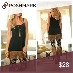 Fringe Tank/Tunic Adorable & Fun Black Tank Dress with Faux Suede fringe.  Tank is Tunic length with adjustable straps.  Made in USA.   95% Rayon 5% Spandex. Small (2/4)  Medium (6/8)    Add to a bundle for savings at purchase. Infinity Raine Dresses Midi
