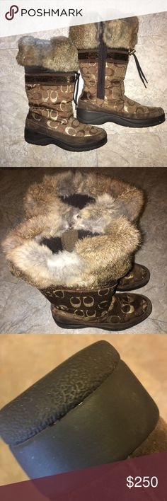 COACH BOOTS! Beautiful coach boots maybe worn a couple times perfect Condition, this boot is amazing! Must buy! Check out the pics the bottom barely hit the ground! Make me an offer! Shoes Winter & Rain Boots
