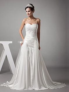 Strapless Chiffon and Elastic Satin Wedding Dress with Asymmetrical Draping - USD $189.00