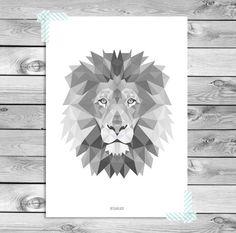Druckbare Kunst Plakat Druck   Schwarz Weiß Grau Löwe Illustration  Geometrische Tiere Cool Kids