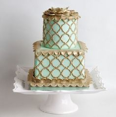 Mint Gold, Mint Green, Couture Cakes, Cake Cover, Small Cake, Cake Creations, No Bake Cake, Macarons, Wedding Cakes