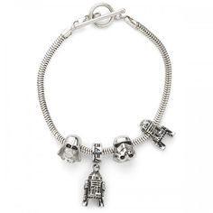 Star Wars Exclusive Charm Bead DIY Sets from ThinkGeek. I know I keep saying this but I actually hate charm bracelets though I'd make an exception for this one. Star Wars Jewelry, Geek Jewelry, Fashion Jewelry, Disney Jewelry, Bead Jewellery, Charm Jewelry, Beaded Jewelry, Star Wars Love, Star War 3