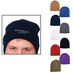 5e1cfd7b5511c2 Embroidered knit beanies. 100% Acrylic rib knit beanie. Great way to keep  everyone