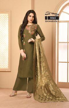 45b13f09d0 Your Choice Banarasi Vol 1 Designer Embroidered Satin Georgette Party Wear Dress  Material Dealer Surat
