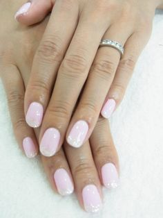 Pale pink w/glitter tipped nails...great nail color!