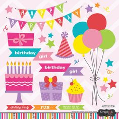 Includes one x sheet of assorted stickers. Birthday Cake Clip Art, Birthday Party Clipart, Birthday Clips, Birthday Love, 3rd Birthday Parties, Birthday Celebration, Roller Skating Party, Skate Party, Rainbow Clipart