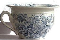French Antique Chamber Pot Blue Transfer Ware