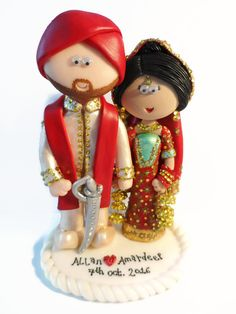 Handmade From Scratch To Look Like You. Indian Wedding Cake Toppers In Any  Outfits Or