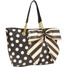 Betsey Johnson Bow Tastic Tote ($90) ❤ liked on Polyvore featuring bags, handbags, tote bags, purses, totes, white black, vegan tote, vegan leather tote bag, accessories handbags and bow tote