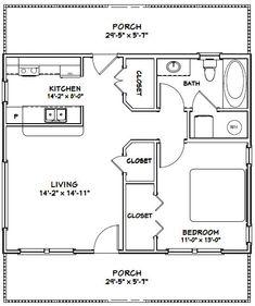 PDF house plans, garage plans, & shed plans. 1 Bedroom House Plans, Cabin House Plans, Granny Pod, Granny Flat, Home Design, Tiny House Design, Br House, Loft House, Cottage House
