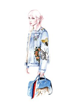Fashion illustrations inspired by the work of Alessandro Michelefor GUCCI