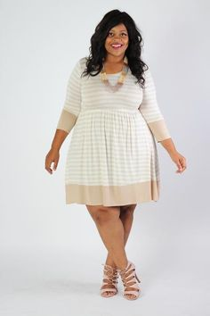 Plus Size Clothing for Women - Striped Half Sleeve Dress - Society+ - Society Plus - Buy Online Now! - 1