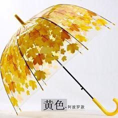 4 Colors Leaves Cage Umbrella Transparent Rainny Sunny Umbrella Parasol Cute Umbrella Women Cute Clear Paraguas Free Shipping  shop www.procellaumbrella.com