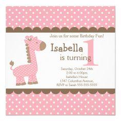 Cute Jungle Safari Pink Giraffe Birthday Party Personalized Invites
