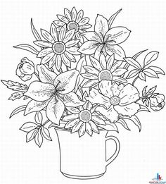 coloring pages of flowers printable free   This coloring page ...