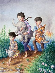 Beautiful Illustrations by Shinya Okayama. I would love to have this in Johanna's room. Actually a piece of art from each Country that makes up here genetics. This being the Japanese heritage !