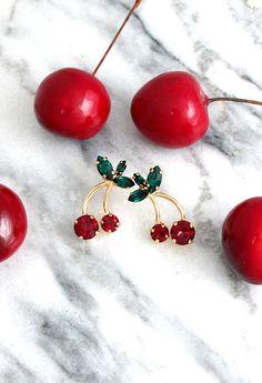 Cherry Earrings Cherry Stud Earrings Green Red Earrings Cherry Earrings, Red Earrings, Crystal Earrings, Etsy Earrings, Fall Jewelry, Stylish Jewelry, Jewelry Sets, Jewlery, Unique Jewelry
