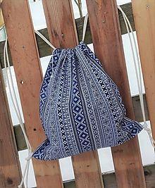 BackPack/Batoh/Vak - modro - biely folk cifrovaný / LuJo - SAShE.sk - Handmade Batohy Drawstring Backpack, Folk, Backpacks, Bags, Fashion, Ponchos, Handbags, Moda, Popular
