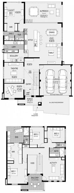 Georgia Platinum floorplan: take our guest and replace with pool. New House Plans, Dream House Plans, Modern House Plans, House Floor Plans, House Plans With Pool, Home Design Floor Plans, Plan Design, Floor Design, House Design