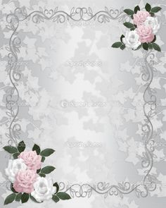 Ivy and roses on white satin illustration composition for background, border, frame, wedding invitation or template with copy space.
