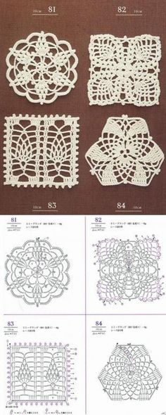 This Pin was discovered by Dia Crochet Circles, Crochet Motifs, Crochet Blocks, Crochet Diagram, Afghan Crochet Patterns, Crochet Squares, Thread Crochet, Crochet Doilies, Crochet Lace