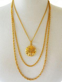 "Vintage Multi Strand Flower Pendant Necklace Art Noveau Style Retro Boho Chic Gold Tone 22"" by DecoOwl on Etsy"