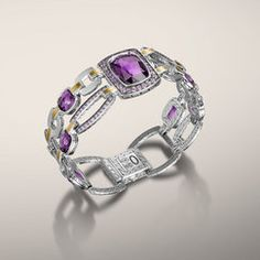 CLASSIC CHAIN COLLECTION Multi Geometric Link Bracelet with Light Amethyst and Amethyst. All in Sterling Silver & 22K Gold.