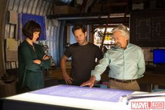 Hope (Evangeline Lilly), Scott (Paul Rudd), and Hank (Michael Douglas) make plans in Marvel's 'Ant-Man,' in theaters July 17