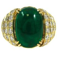 David Webb Emerald Diamond Gold Ring