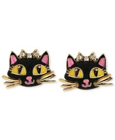 Betsey Johnson Antique Gold-Tone Cat Stud Earrings - Jewelry & Watches - Macy's