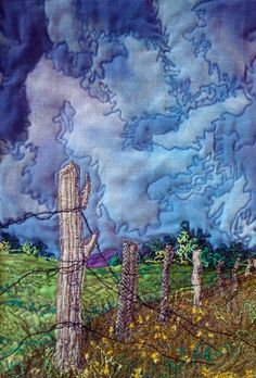 Cinde Hoppe. I am no quilter. I can't stitch in a straight line for one thing. But if I were quilting these clouds, I wouldn't have to. This is really beautiful. I can't figure out if it is all fabric pieced together or if the artist painted on the fabric first and then quilted on top of it. If the latter, I could see this as a future project of mine.