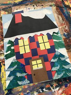 Elements of the Art Room: 1st grade Woven Winter houses
