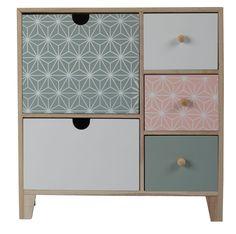 Commode AGATHE, petit meuble de rangement bois, rose, blanc et vert d'eau (céladon) - BUT