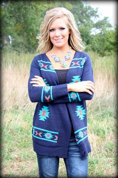 We Run the World Navy and Turquoise Aztec Sweater: Filly Flair
