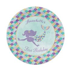Mermaid Birthday Paper Plates - tap/click to spruce things up