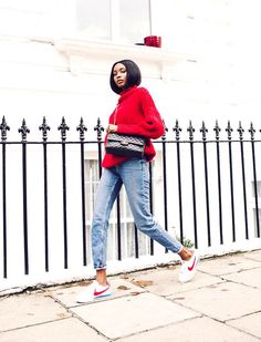 Nike Cortez - Red Sweater & Denim Look
