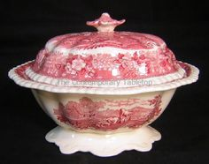 Antique Adams English Scenic Tureen cranberry pink red transferware horse cow
