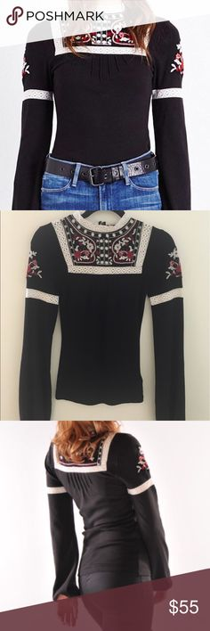 Free People Crochet Sweater Long Sleeve Free People long sleeve sweater! BRAND NEW W TAGS! Perfect for fall or winter! Free People Sweaters Crew & Scoop Necks